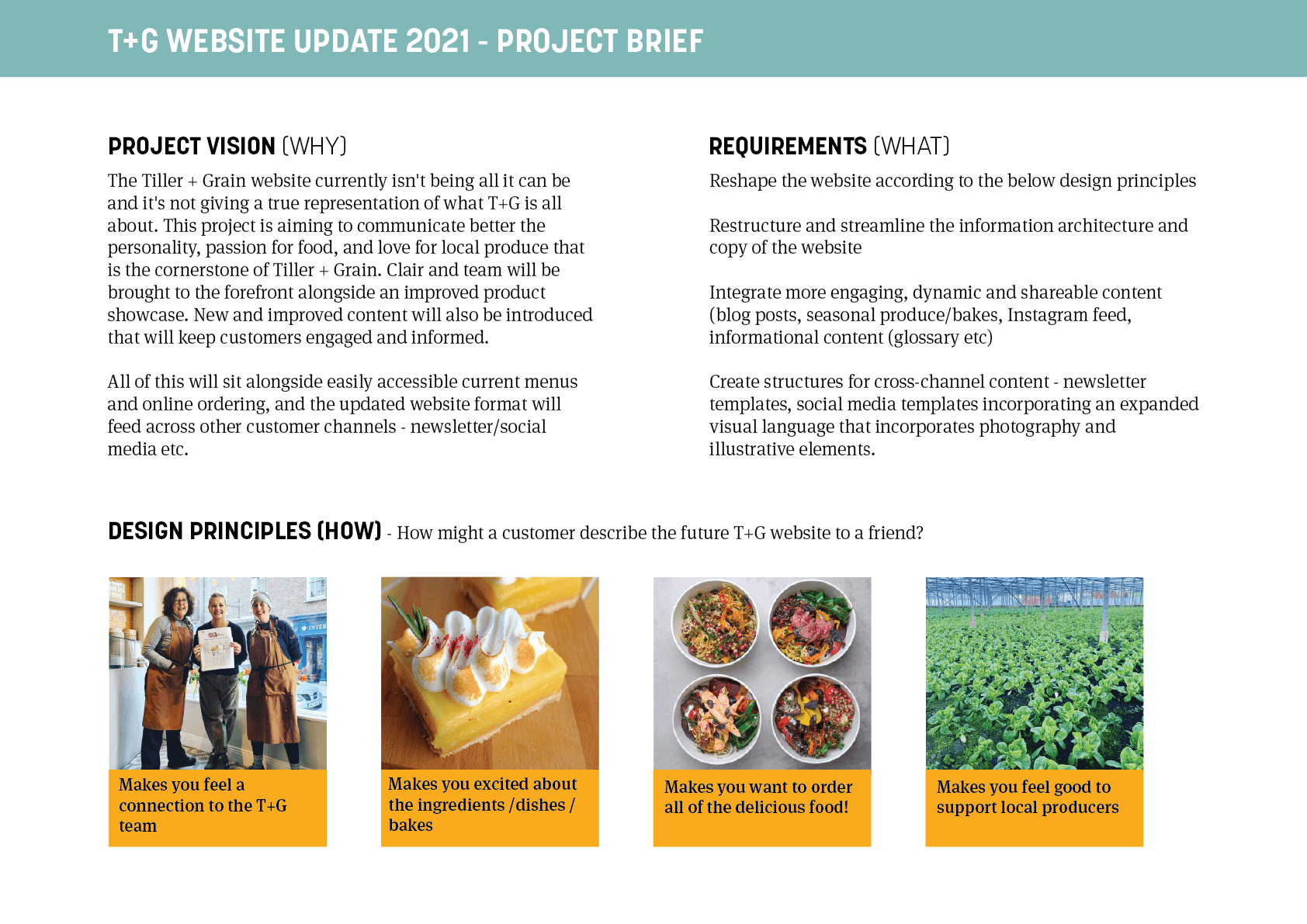 T+G Project Brief